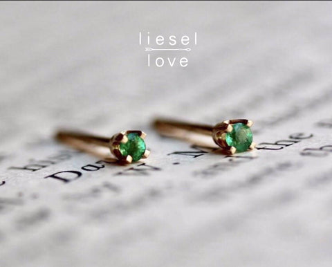Tiny Green Emerald Studs