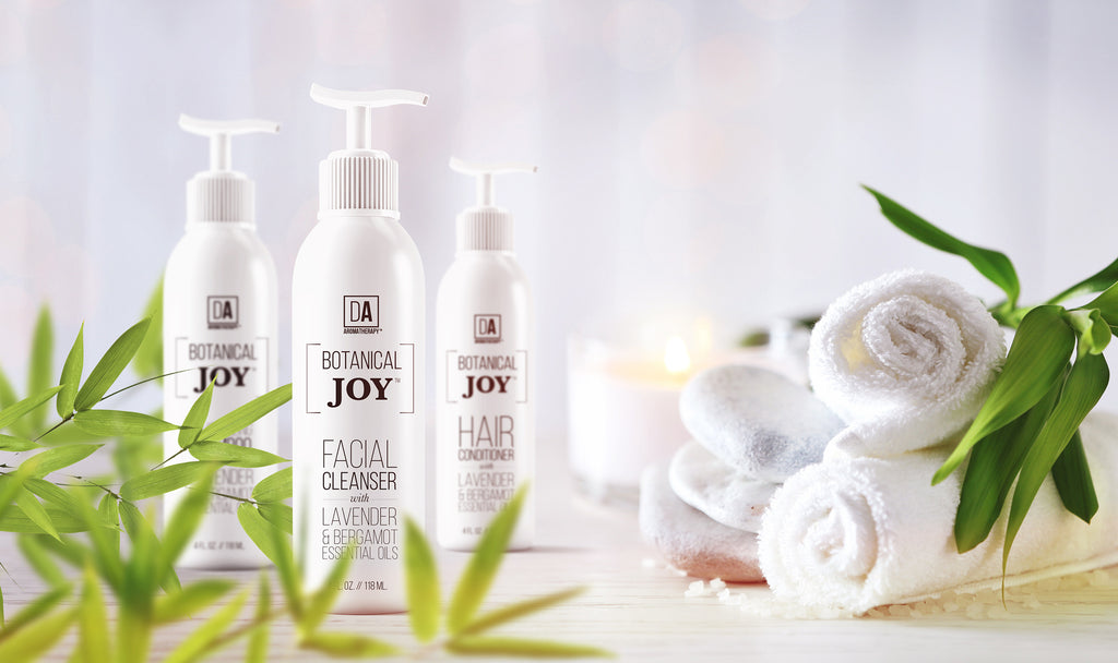 DA Aromatherapy Botanical Joy Natural Skin Care line with Organic Lavender & Bergamot Essential Oils.