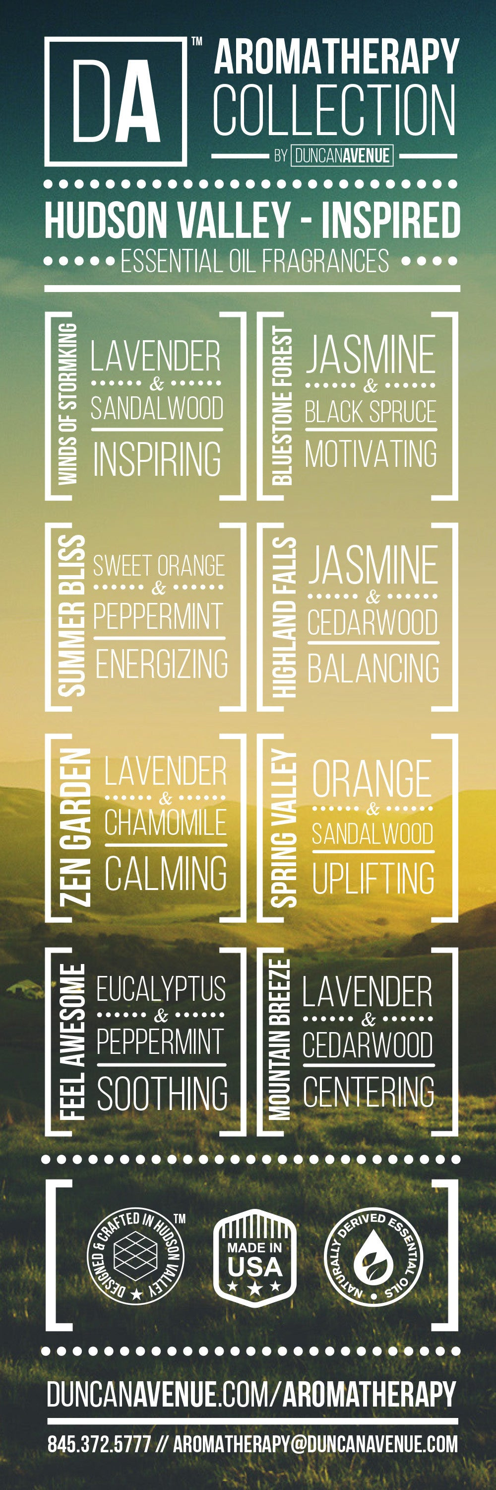 DA Aromatherapy Signature Essential Oil Blends – Infographic