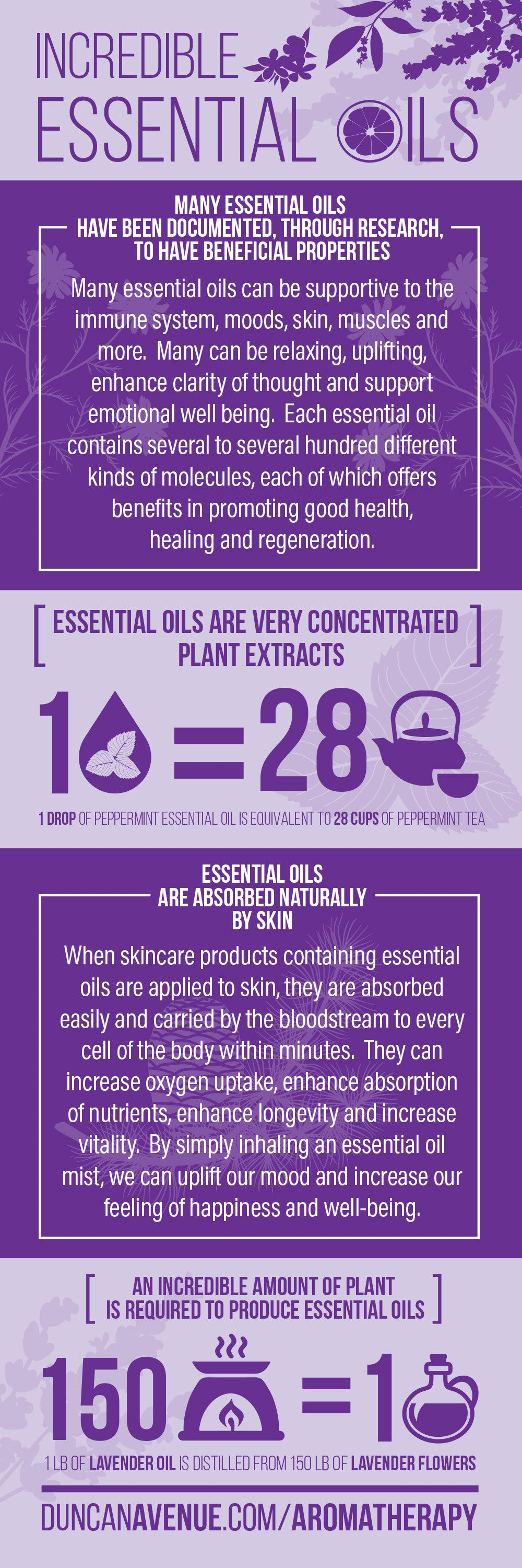 Many essential oils can be supportive to the immune system, moods, skin, muscles and more. Many can be relaxing, uplifting, enhance clarity of thought and support emotional well-being. Each essential oil contains several to several hundred different kinds of molecules, each of which offers benefits in promoting good health, healing, and regeneration.