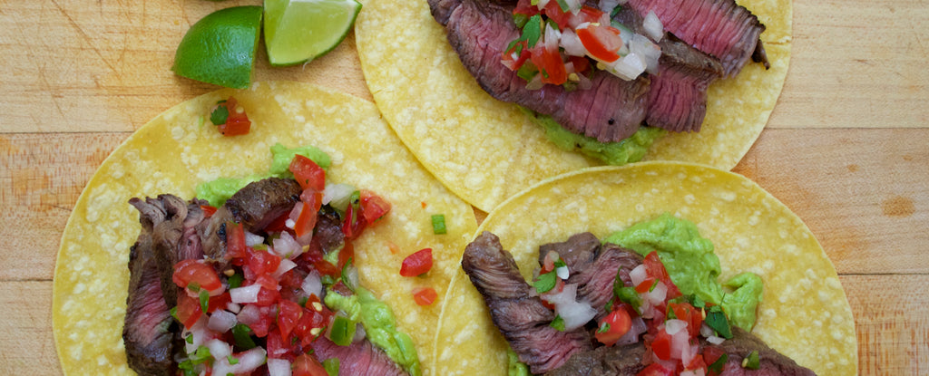 Sirloin Steak Tacos with Avocado Puree & Pico de Gallo