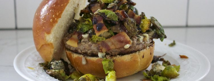 Brussels Sprout, Bacon, & Bleu Cheese Grassfed Burgers