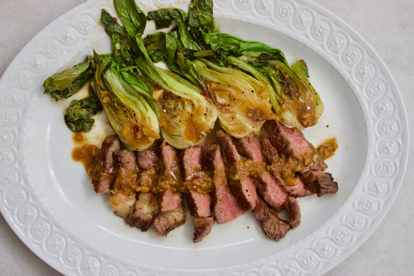 Recipe: Ribeye with Miso-Glazed Bok Choy