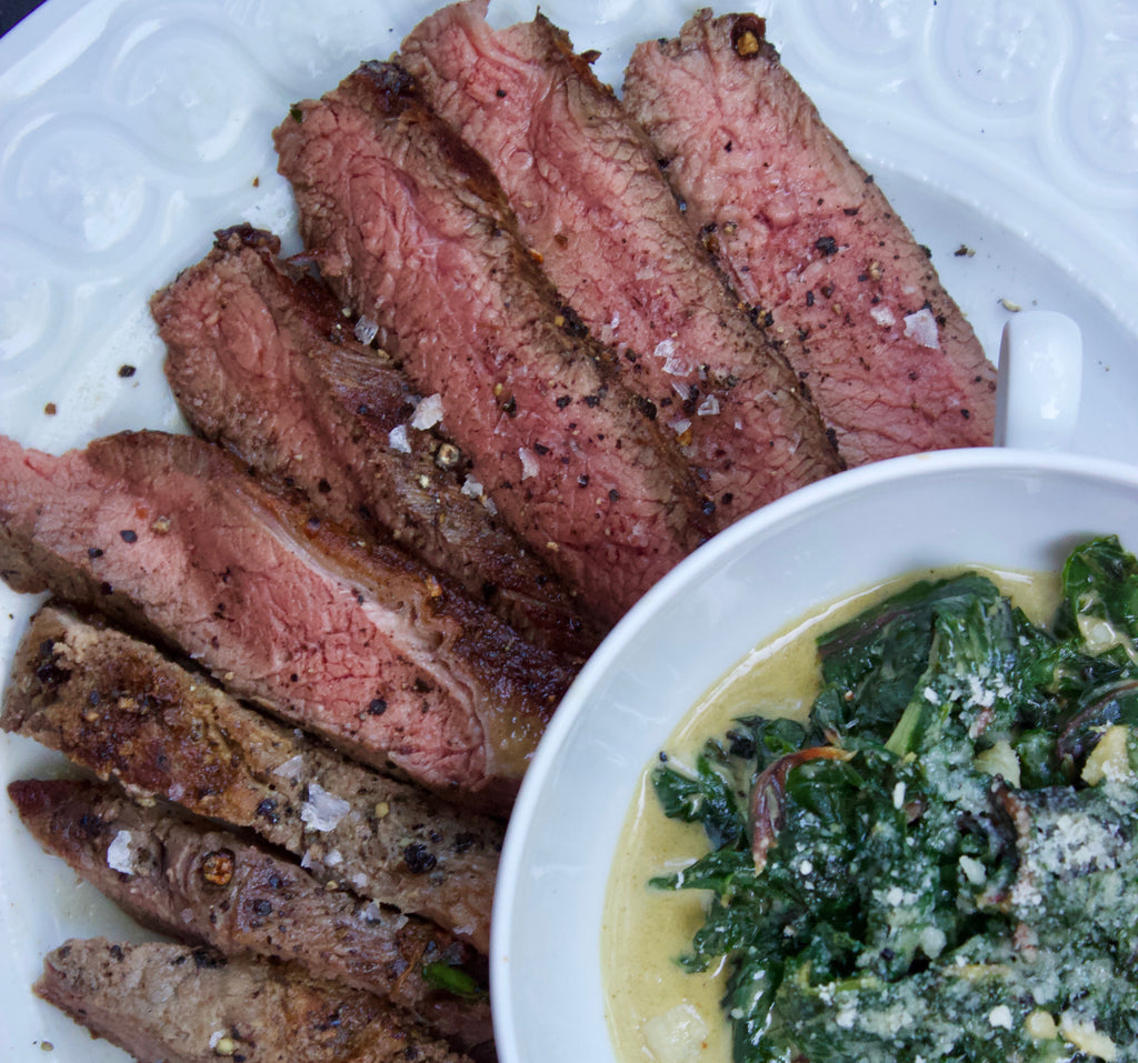 Peppercorn Crusted Top Sirloin with Creamed Swiss Chard