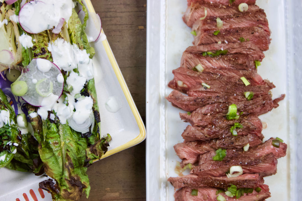 Recipe: Strip Steak with Grilled Romaine & Buttermilk Dressing