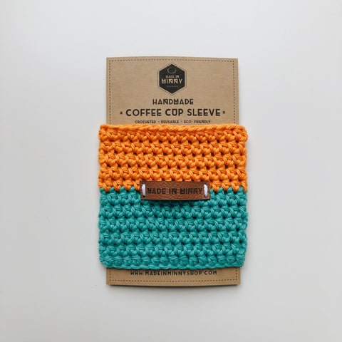 Coffee Cup Sleeve | Hunter Orange & Teal