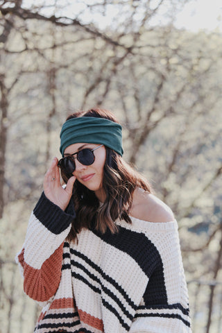 Boho Extra Wide Headband | Deep Teal