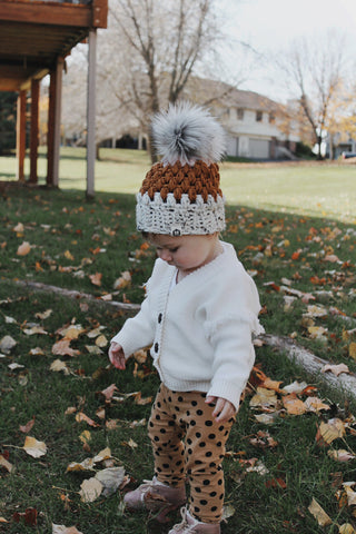 Little North Pom Beanie | Antique Gold Multi