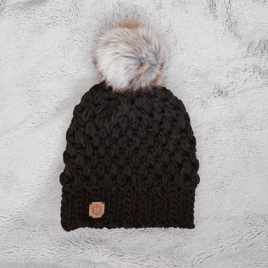 North Faux Fur Pom Beanie | Black