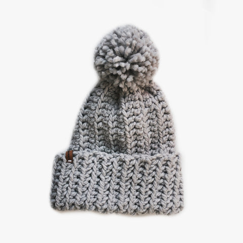 Cozy Fold Pom Beanie | Light Gray