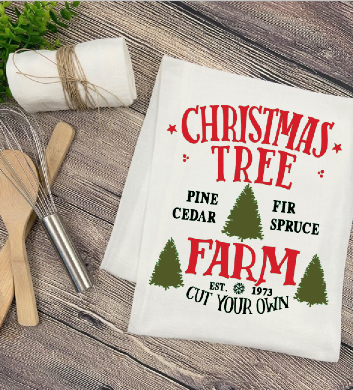 Christmas Tree Farm Tea Towel