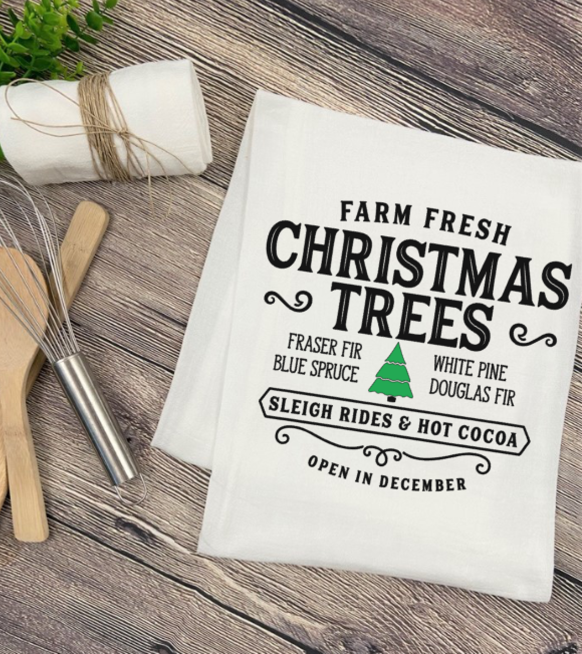Farm Fresh Christmas Trees Tea Towel