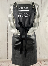 Get the FORK Out of My Kitchen Black Full Length Apron