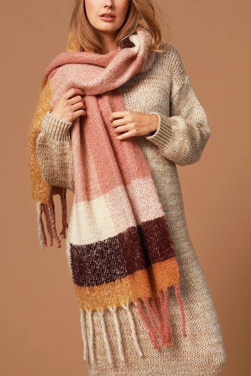 Plaid Blush and Gold Scarf