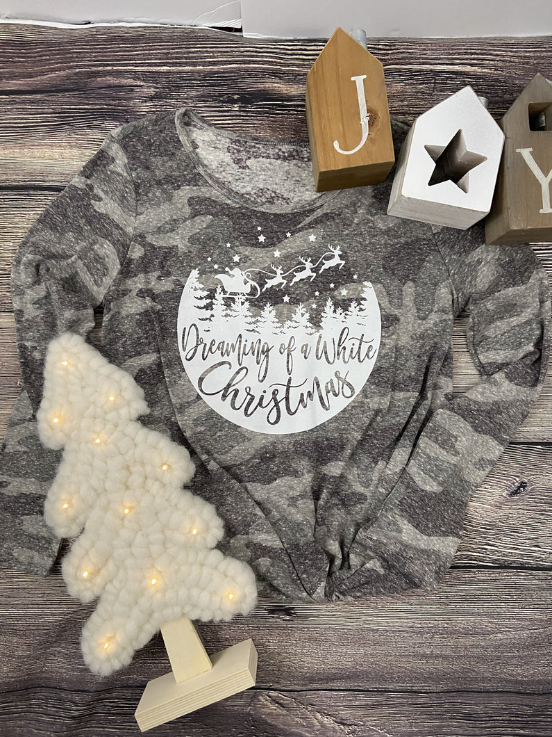 Dreaming of a White Christmas Camo Knot Top