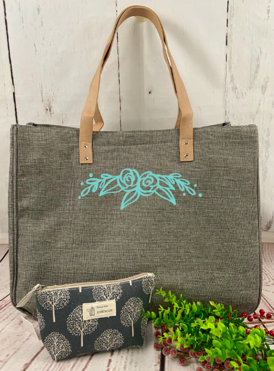 Turquoise Rose Bag/Tote
