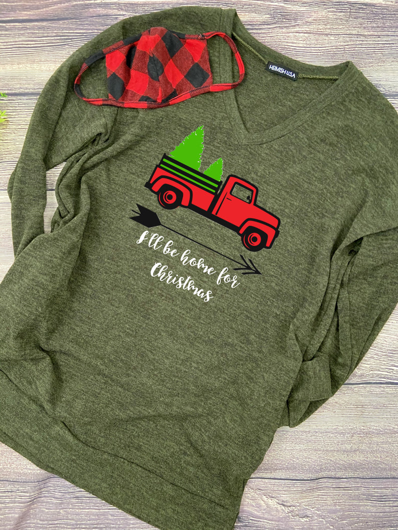 Red Truck Green Sweater Tunic