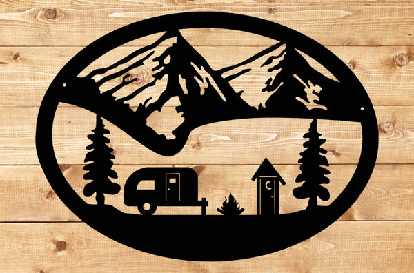 Camping Oval Scene Sign