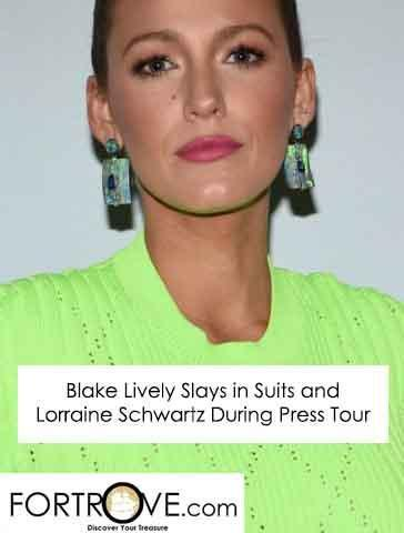 Blake Lively Slays in Suits and Lorraine Schwartz on 'A Simple Favor' Press Tour