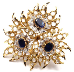 AUTHENTIC BUCCELLATI 18K YELLOW GOLD 6CT DIAMOND SAPPHIRE LARGE PIN BROOCH
