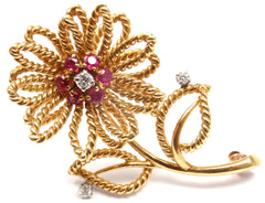 VINTAGE AUTHENTIC TIFFANY & CO 14K YELLOW GOLD DIAMOND RUBY FLOWER BROOCH