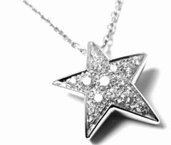Chanel Comete 18k White Gold Diamond Star Pendant Necklace Box Paper