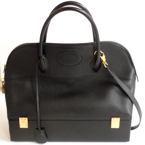 34cm HERMES BLACK LEATHER GOLD HARDWARE STEELE MACPHERSON HANDBAG