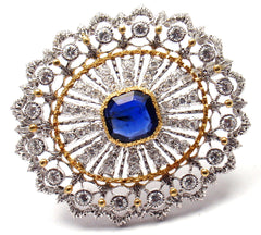 BUCCELLATI 18K YELLOW & WHITE GOLD 68 DIAMONDS SAPPHIRE BROOCH PIN