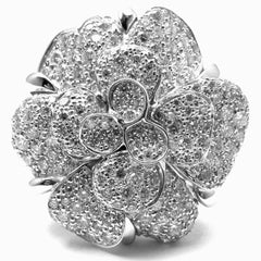 CHANEL CAMELIA CAMELLIA FLOWER 18K WHITE GOLD DIAMOND LARGE RING