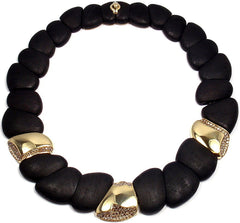 ROBERTO COIN 18K YELLOW GOLD CAPRI COLLECTION DDIAMOND EBONY WOOD NECKLACE
