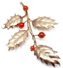 RARE AND STUNNING! M BUCCELLATI 800 SILVER CARNELIAN HOLLY BERRY BROOCH PIN