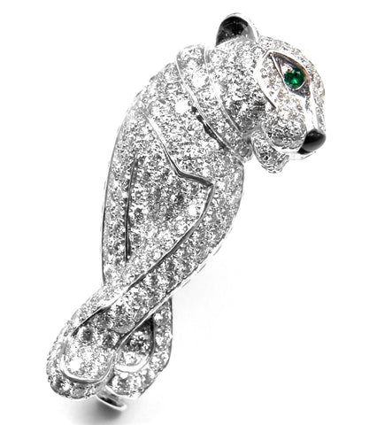 Cartier Panther Panthere 18k White Gold Diamond Emerald Brooch