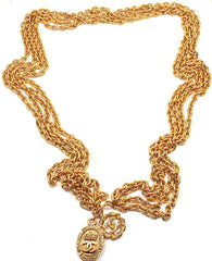 CHANEL GOLD TONE MULTI STRAND LOGO CLASP BELT NECKLACE