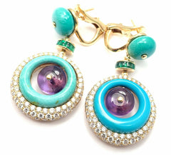 Authentic! Bvlgari Bulgari 18k Yellow Gold Diamond Turquoise Amethyst Earrings