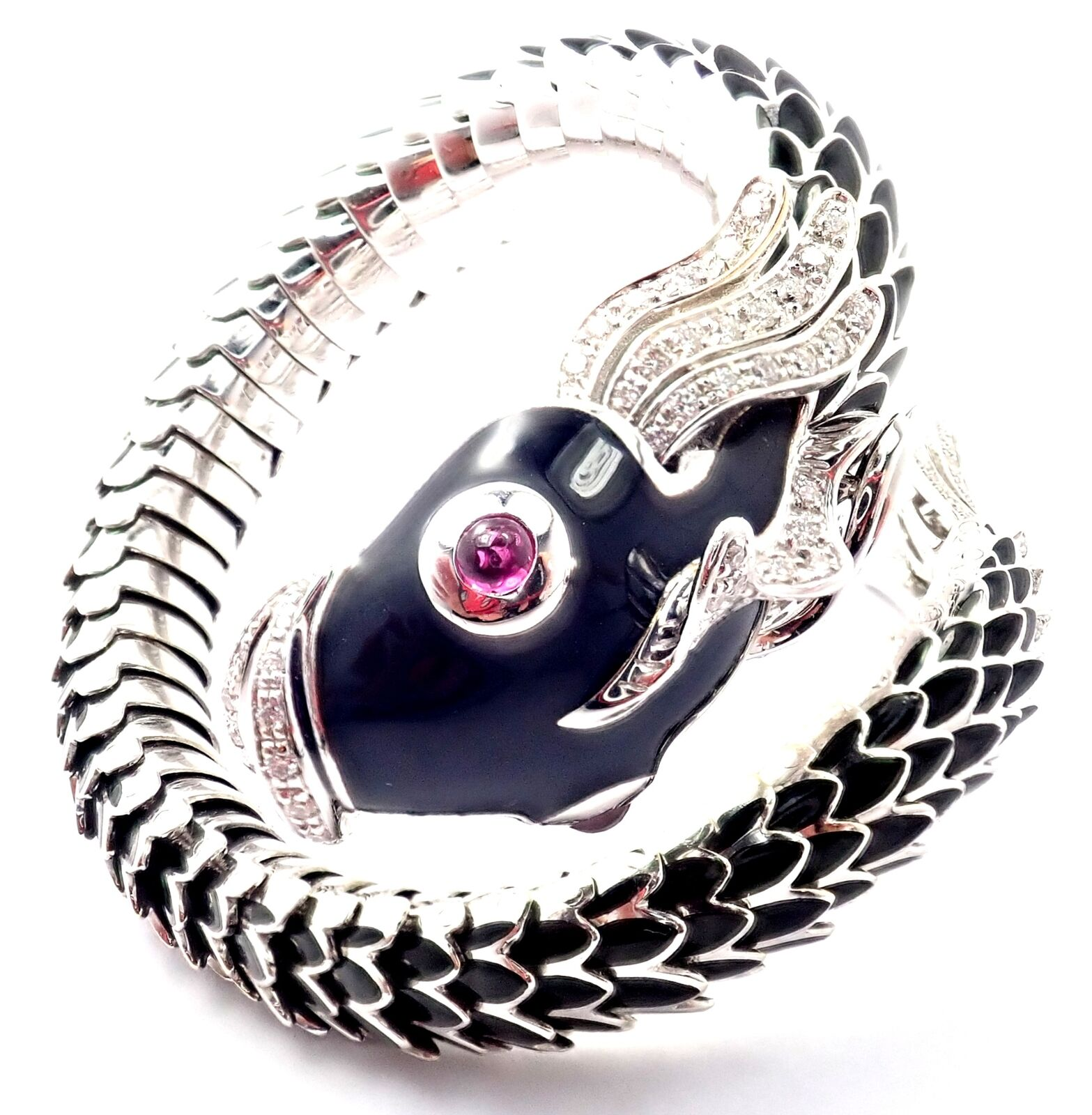 Authentic! Roberto Coin Nemo 18k White Gold Diamond Ruby Enamel Cuff Bracelet