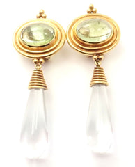 Authentic! Temple St Clair 22k Yellow Gold Green Beryl Rock Crystal Earrings