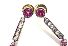 Rare! Authentic Laura Munder 18k Yellow Gold Diamond Pink Sapphire Earrings