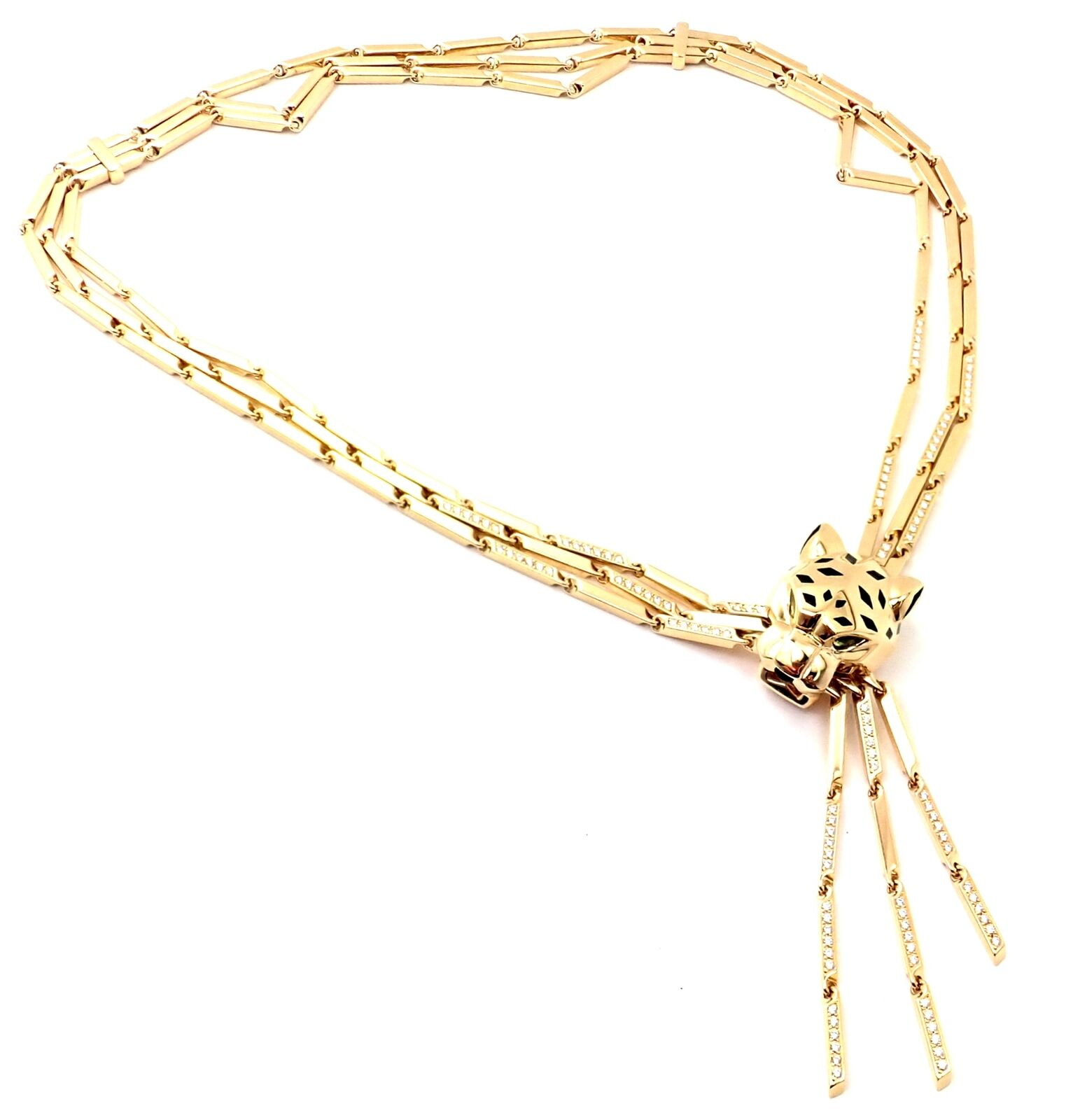 Authentic! Cartier Panther 18k Gold Diamond Peridot Onyx Lacquer Tassel Necklace