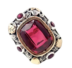 Vintage Estate 14k Gold Sterling Silver Red Stone Ring Sz 5.5