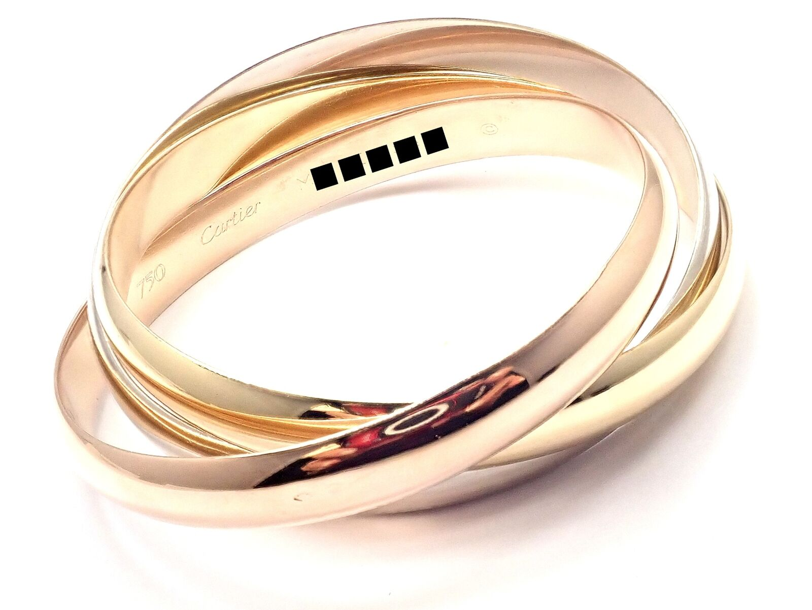 Cartier 18k Tricolor Gold Trinity Large Model Medium Size Bangle Bracelet Cert.