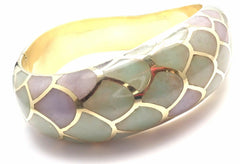 Authentic! Angela Cummings 18k Gold Purple Green Jade Snakeskin Bangle Bracelet