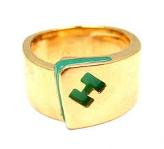 Hermes 18k Yellow Gold Green Chalcedony Logo H Band Ring sz 52 US 6 w/ Box