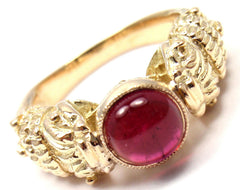 Very Rare! Authentic Zolotas Greece 18k Yellow Gold Pink Tourmaline Band Ring