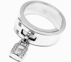 "Rare! Authentic Hermes 18k White Gold ""H"" Lock Band Diamond Ring"