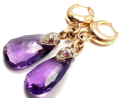 Rare! Authentic Pomellato 18k Yellow Gold Diamond Amethyst Drop Earrings