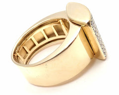 Authentic! Chopard 18k Yellow Gold Happy Curves Diamond Ring