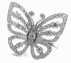 Van Cleef & Arpels 18k White Gold Diamond Flying Butterfly Between Finger Ring