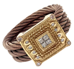 Charriol 18k Yellow Gold Diamond Nautica Celtic Noir Chocolate Steel Cable Ring