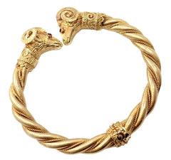 Authentic! Ilias Lalaounis 18k Yellow Gold Ruby Ram's Head Ares Bangle Bracelet