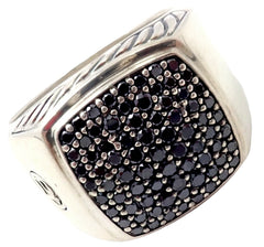 David Yurman DY Silver Large 15mm Black Diamond Signet Ring Size 11
